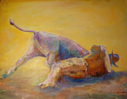 Wrestling Painting Originals - Bulldogging...it aint for Sissies. by Dee Wright Wimmer