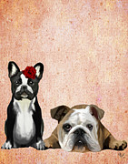 Rose Framed Prints Digital Art - Bulldogs French and English by Kelly McLaughlan