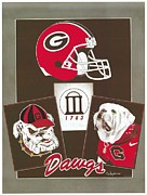Georgia University Framed Prints - Bulldogs Poster II Framed Print by Herb Strobino