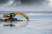 Bulldozer Prints - Bulldozer Excavating In The Sea Print by Christian Lagereek