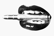 Mouth Photo Posters - Bullet Lips BW Poster by Erik Brede