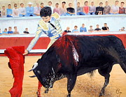 Toreador Painting Posters - Bullfight in Nimes Poster by Barbara Jacquin