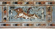 Bull Prints - Bullfighting Scene. Ca. 1500 Bc. Fresco Print by Everett