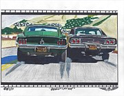 Car Chase Posters - Bullitt Proof Poster by Austin Gemberling