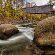 Housatonic River Posters - Bulls Bridge Autumn Square Poster by Bill  Wakeley