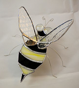 Featured Glass Art Prints - Bumble Bee by Michelle Lodge Print by Studio One Seventy Two