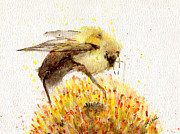 Sumi-e Paintings - Bumble Bee by Marie Stone Van Vuuren