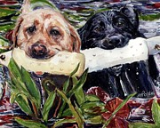 Retrievers Paintings - Bumper Bumper by Molly Poole