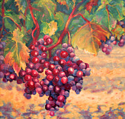 Wine Oil Framed Prints Paintings - Bunch of Grapes by Carolyn Jarvis