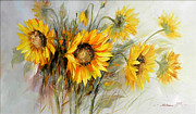 Romania Paintings - Bunch of Sunflowers by Petrica Sincu