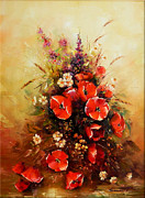 Romania Paintings - Bunch of Wildflowers by Petrica Sincu