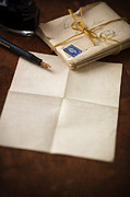 Love Letter Prints - Bundle Of Vintage Letters With Fountain Pen Print by Lee Avison