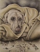 Love Print Drawings - Bundled Up by Lisa Marie Szkolnik