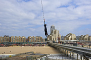 Scheveningen Pier Posters - Bungee jumping from the pier Scheveningen The Hague The Netherlands Poster by Petr Bonek
