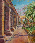San Juan Paintings - Bunker Colonnade at Mission San Juan Capistrano by Jan Mecklenburg