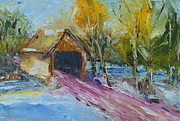 Covered Bridge Painting Metal Prints - Bunker Hill Covered Bridge- Palette Knife Oil Painting By Award Winning Artist Joe Byrd Metal Print by Joe Byrd