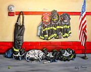 Fire Gear Paintings - Bunkered Down by Holly Connors