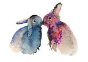 Bunnies In Love Print by Kristina Brozicevic