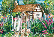 Bunny Paintings - Bunny Cottage by Claire Viger