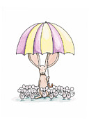 Yellow Drawings Posters - Bunny with Umbrella Poster by Christy Beckwith