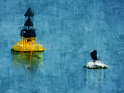 Sea Birds Paintings - Buoy and Bird by Carl Rolfe