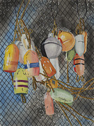 Netting Painting Posters - Buoys and Netting Poster by John Edebohls