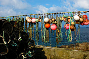 Sennen Cove Posters - Buoys and Pots in Sennen Cove Poster by Terri  Waters