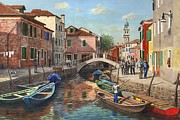Realist Painting Framed Prints - Burano Canal Venice Framed Print by Richard Harpum