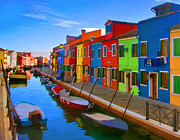 Bright Colors Metal Prints - Burano Island in the Venetian Lagoon Metal Print by Michael Pickett