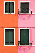 Facades Posters - Burano Pink and Orange Poster by Inge Johnsson