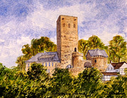 Locations Painting Prints - Burg Blankenstein Hattingen Germany Print by Bill Holkham