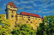 Austria Digital Art Posters - Burg Liechtenstein Poster by Jeff Kolker