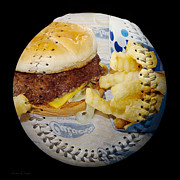 Burger And Fries Baseball Square Print by Andee Photography
