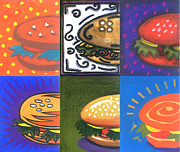 Burger Mixed Media Framed Prints - Burger Joint Framed Print by Renu K