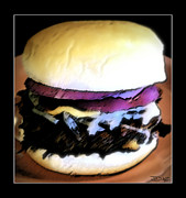 Burger Mixed Media Framed Prints - Burger Framed Print by The Artist JDAZ