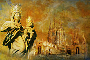 Old Town Painting Prints - Burgos Cathedral Print by Catf