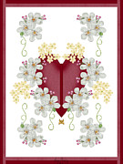 Merlot Prints - Burgundy and Merlot Victorian Valentine Print by Anne Norskog