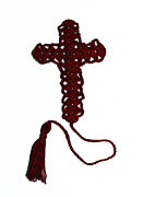 Featured Tapestries - Textiles Originals - Burgundy Cross Bookmark by Diane M