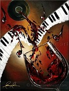 Women Tasting Wine Art - Burgundy Keys Wine Art Painting by Leanne Laine
