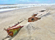 Storm Prints Photo Prints - Buried Treasure - Shipwreck on the Outer Banks I Print by Dan Carmichael