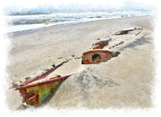 Storm Prints Prints - Buried Treasure - Shipwreck on the Outer Banks II Print by Dan Carmichael