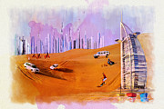 Oil On Canvas Painting Originals - Burj Arab Skyline by Corporate Art Task Force