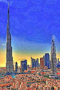 Skylines Digital Art Prints - Burj Khalifa Dubai United Arab Emirates 20130426 Print by Wingsdomain Art and Photography