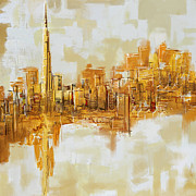 Oil On Canvas Originals - Burj Khalifa Skyline by Corporate Art Task Force