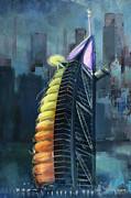 Hotel Painting Originals - Burj Ul Arab  by Corporate Art Task Force