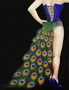 Burlesque Painting Metal Prints - Burlesque Blue Metal Print by Karen  Loughridge