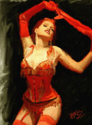 Brushstrokes Posters - Burlesque no 5 Poster by James Shepherd