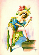 Color Lithographs Photo Acrylic Prints - Burlesque Queen 1899 Acrylic Print by Padre Art