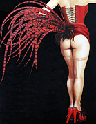 Burlesque Painting Metal Prints - Burlesque Red Metal Print by Karen  Loughridge