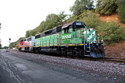 Santa Fe Framed Prints - Burlington Northern BNSF and Santa Fe Locomotives at Fernandez Ranch California - 5D21159 Framed Print by Wingsdomain Art and Photography